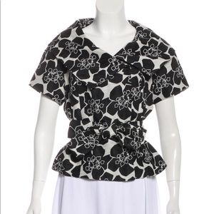 Magaschoni Double Breasted Linen Silk top